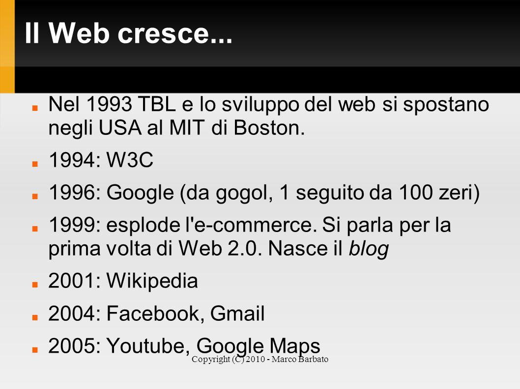 Copyright (C) 2010 - Marco Barbato Il Web cresce... Nel 1993 TBL e lo sviluppo del web si spostano negli USA al MIT di Boston. 1994: W3C 1996: Google