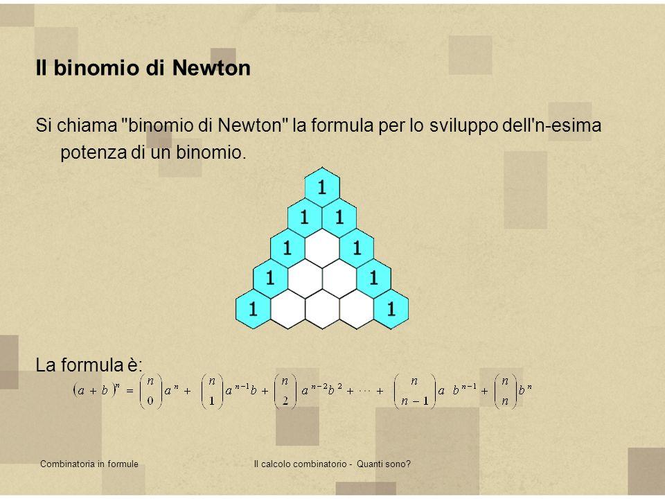 Combinatoria in formuleIl calcolo combinatorio - Quanti sono? Il binomio di Newton Si chiama