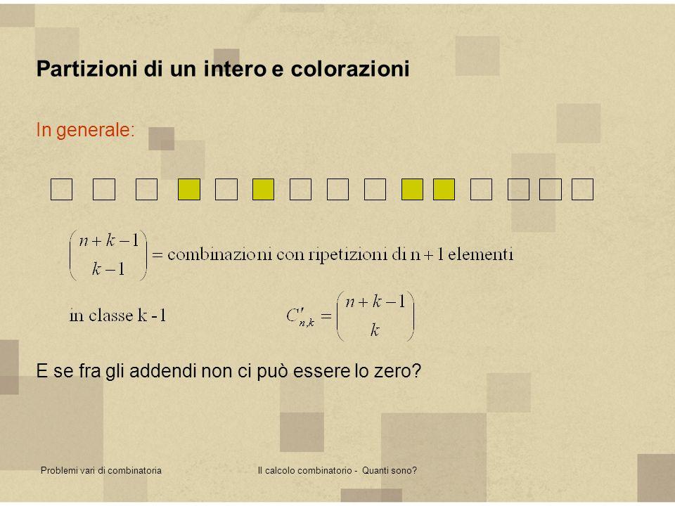 Problemi vari di combinatoriaIl calcolo combinatorio - Quanti sono? Partizioni di un intero e colorazioni In generale: E se fra gli addendi non ci può