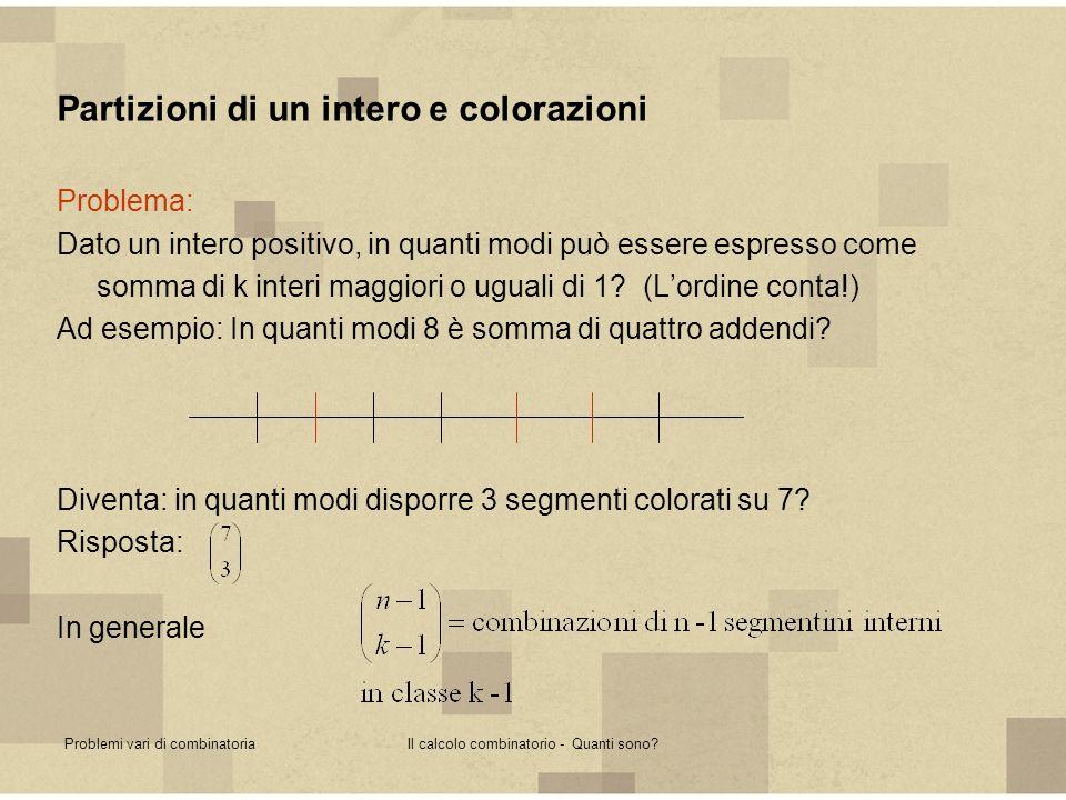 Problemi vari di combinatoriaIl calcolo combinatorio - Quanti sono? Partizioni di un intero e colorazioni Problema: Dato un intero positivo, in quanti