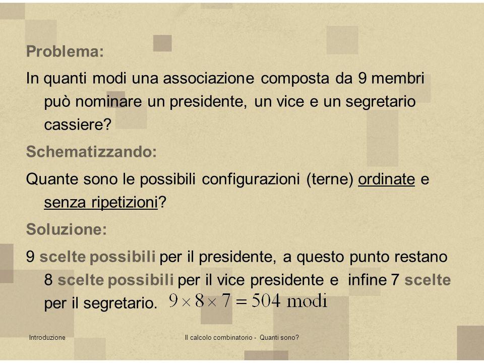 IntroduzioneIl calcolo combinatorio - Quanti sono? Problema: In quanti modi una associazione composta da 9 membri può nominare un presidente, un vice