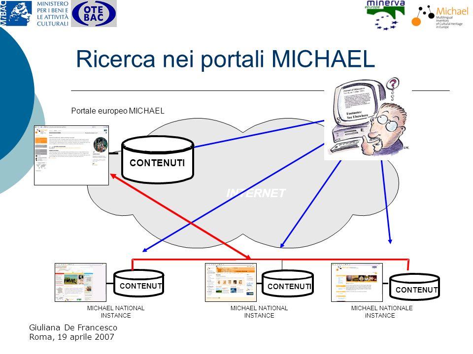 Giuliana De Francesco Roma, 19 aprile 2007 Ricerca nei portali MICHAEL INTERNET CONTENUTI utente MICHAEL NATIONAL INSTANCE Portale europeo MICHAEL MICHAEL NATIONAL INSTANCE MICHAEL NATIONALE iNSTANCE CONTENUTI