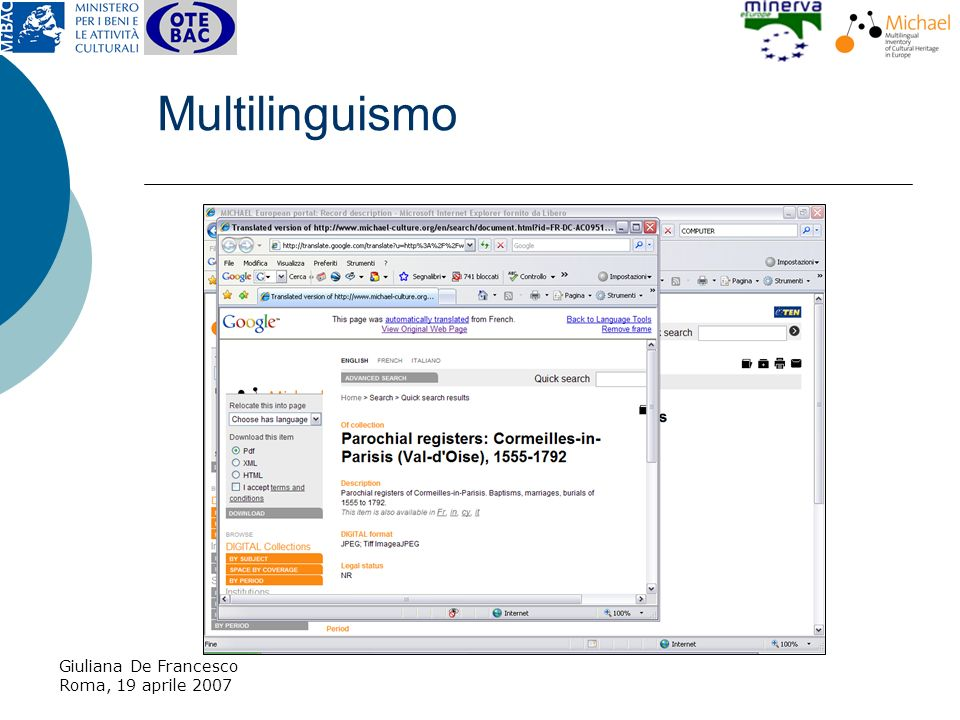 Giuliana De Francesco Roma, 19 aprile 2007 Multilinguismo