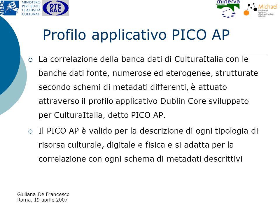 Giuliana De Francesco Roma, 19 aprile 2007 La correlazione della banca dati di CulturaItalia con le banche dati fonte, numerose ed eterogenee, strutturate secondo schemi di metadati differenti, è attuato attraverso il profilo applicativo Dublin Core sviluppato per CulturaItalia, detto PICO AP.