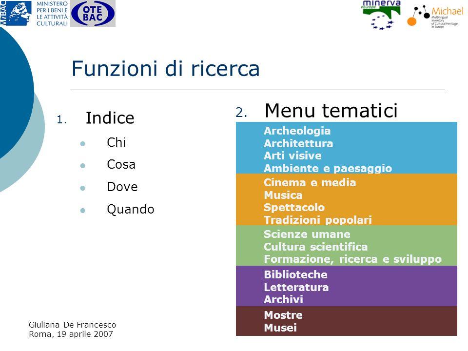 Giuliana De Francesco Roma, 19 aprile 2007 2. Menu tematici Funzioni di ricerca 1.