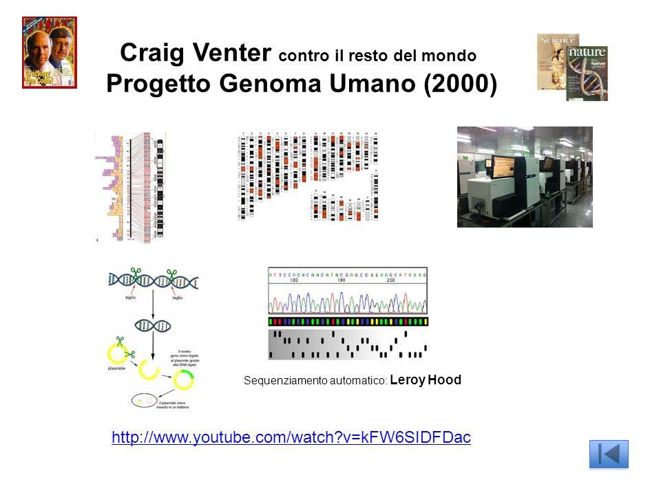Craig Venter contro il resto del mondo Progetto Genoma Umano (2000) http://www.youtube.com/watch?v=kFW6SIDFDac Sequenziamento automatico: Leroy Hood