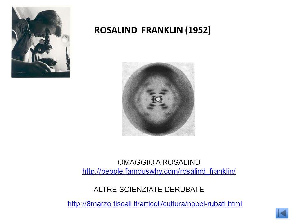 ROSALIND FRANKLIN (1952) OMAGGIO A ROSALIND http://people.famouswhy.com/rosalind_franklin/ ALTRE SCIENZIATE DERUBATE http://8marzo.tiscali.it/articoli/cultura/nobel-rubati.html