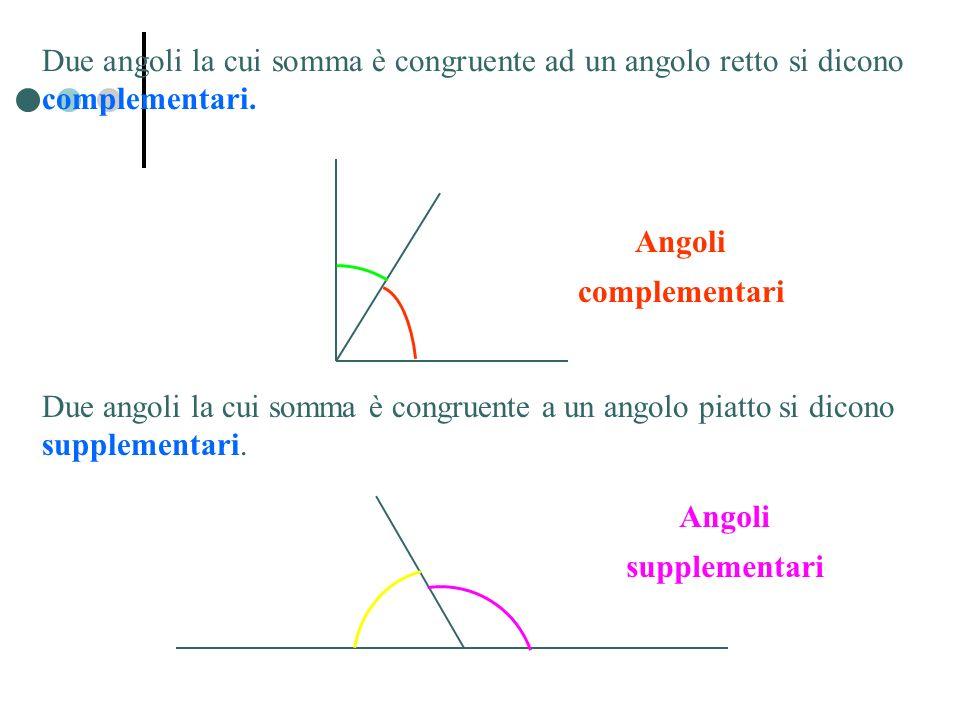 Due angoli la cui somma è congruente ad un angolo retto si dicono complementari. Angoli complementari Angoli supplementari Due angoli la cui somma è c