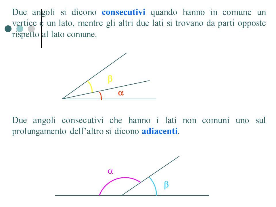 Due angoli si dicono consecutivi quando hanno in comune un vertice e un lato, mentre gli altri due lati si trovano da parti opposte rispetto al lato c