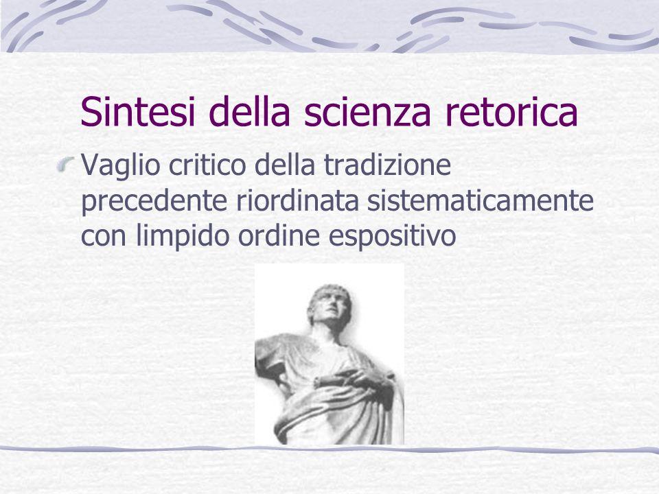 Sintesi della scienza retorica Vaglio critico della tradizione precedente riordinata sistematicamente con limpido ordine espositivo