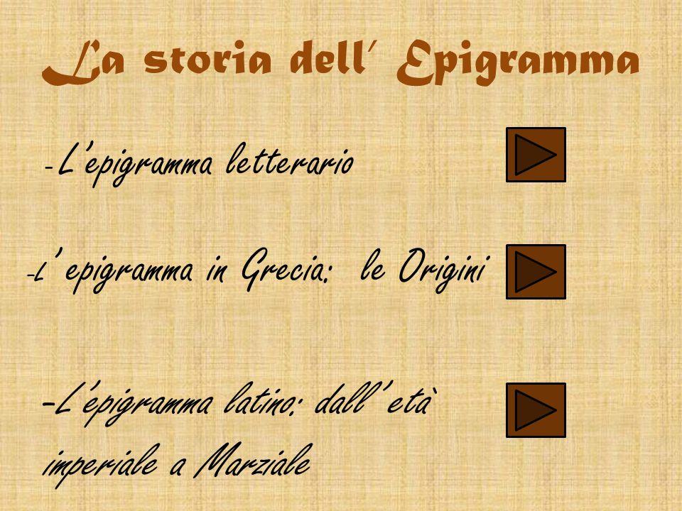 Lepigramma letterario è di derivazione greca,infatti deriva dal greco epigrapho che significa scrivo su(epì = sopra,grapho= scrivo) ed equivale nella lingua latina al termine inscriptio.