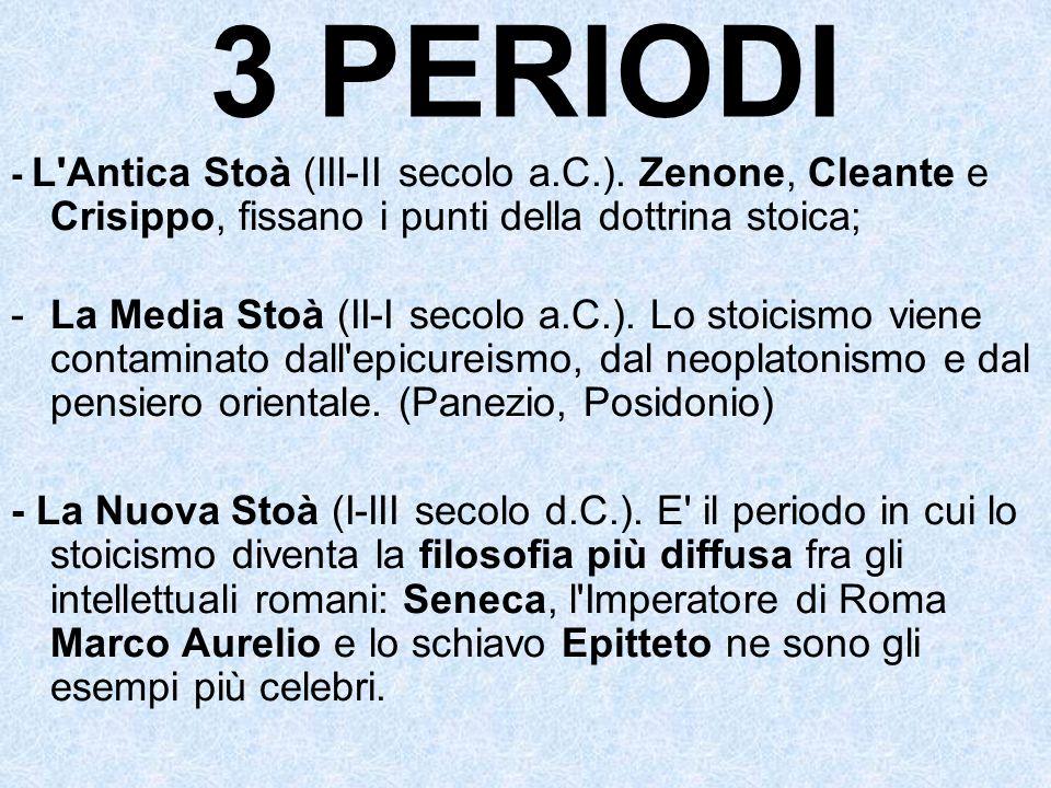 3 PERIODI - L'Antica Stoà (III-II secolo a.C.). Zenone, Cleante e Crisippo, fissano i punti della dottrina stoica; -La Media Stoà (II-I secolo a.C.).