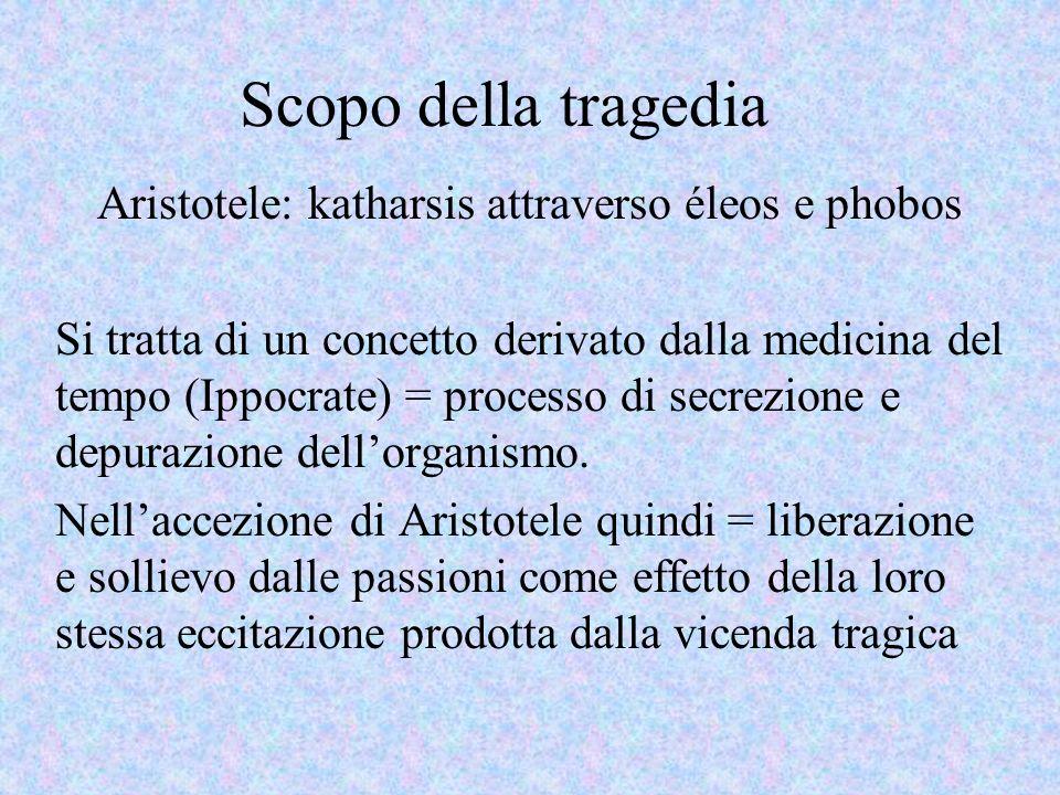 Scopo della tragedia Aristotele: katharsis attraverso éleos e phobos Si tratta di un concetto derivato dalla medicina del tempo (Ippocrate) = processo di secrezione e depurazione dellorganismo.