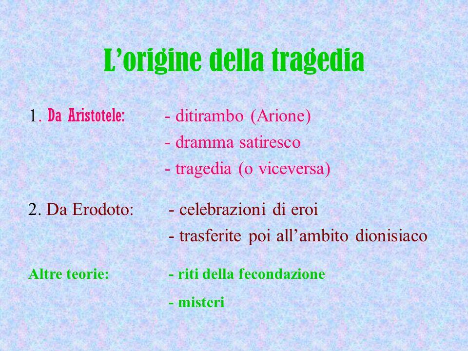 Lorigine della tragedia 1. Da Aristotele: - ditirambo (Arione) - dramma satiresco - tragedia (o viceversa) 2. Da Erodoto: - celebrazioni di eroi - tra
