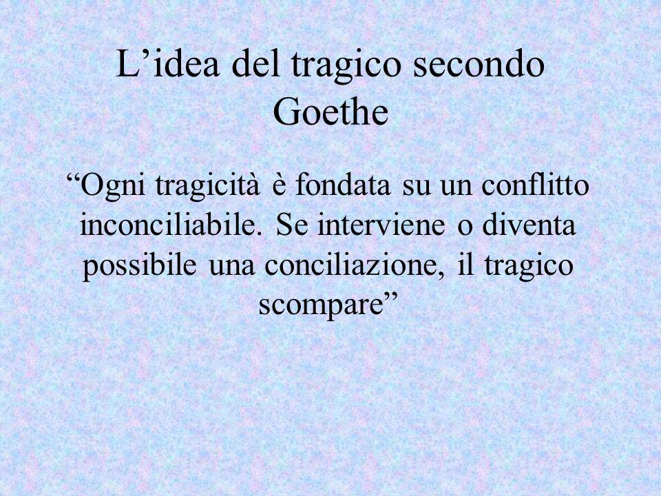 Lidea del tragico secondo Goethe Ogni tragicità è fondata su un conflitto inconciliabile. Se interviene o diventa possibile una conciliazione, il trag