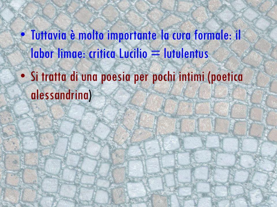 Tuttavia è molto importante la cura formale: il labor limae: critica Lucilio = lutulentus Si tratta di una poesia per pochi intimi (poetica alessandri