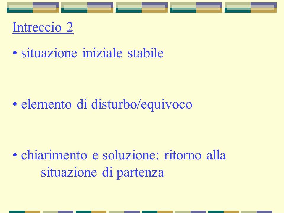 Intreccio 2 situazione iniziale stabile elemento di disturbo/equivoco chiarimento e soluzione: ritorno alla situazione di partenza