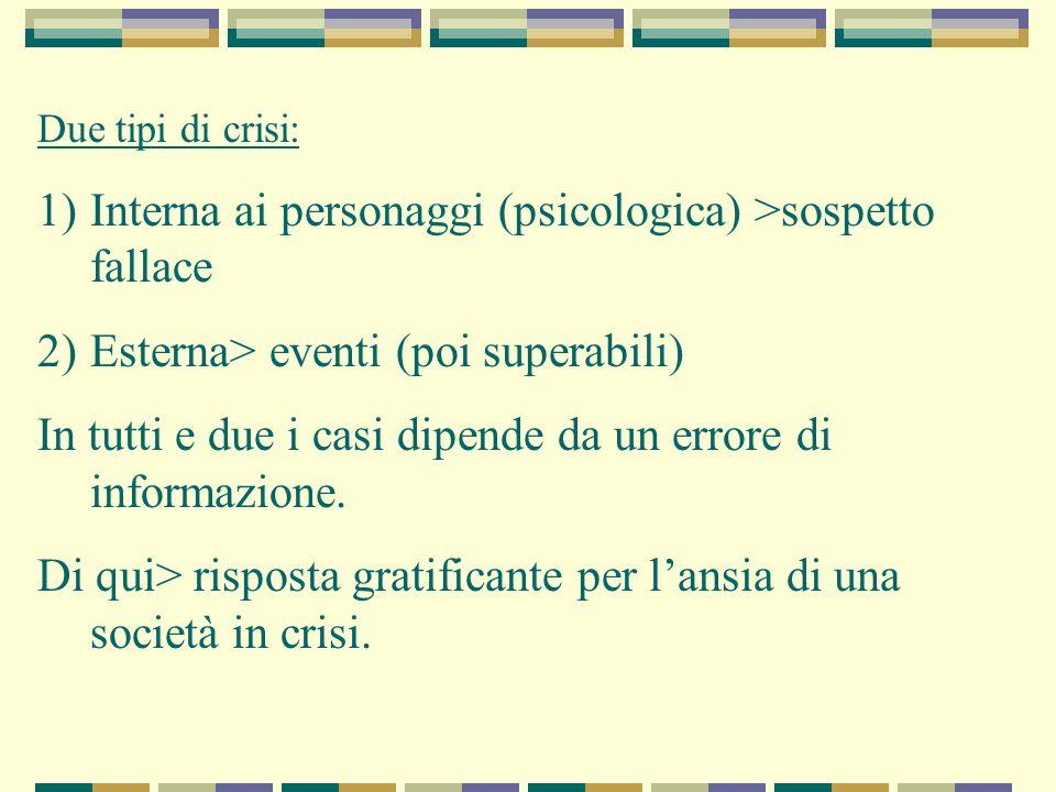 Due tipi di crisi: 1)Interna ai personaggi (psicologica) >sospetto fallace 2)Esterna> eventi (poi superabili) In tutti e due i casi dipende da un erro
