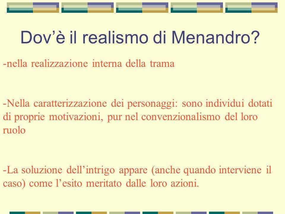Dovè il realismo di Menandro? -nella realizzazione interna della trama -Nella caratterizzazione dei personaggi: sono individui dotati di proprie motiv