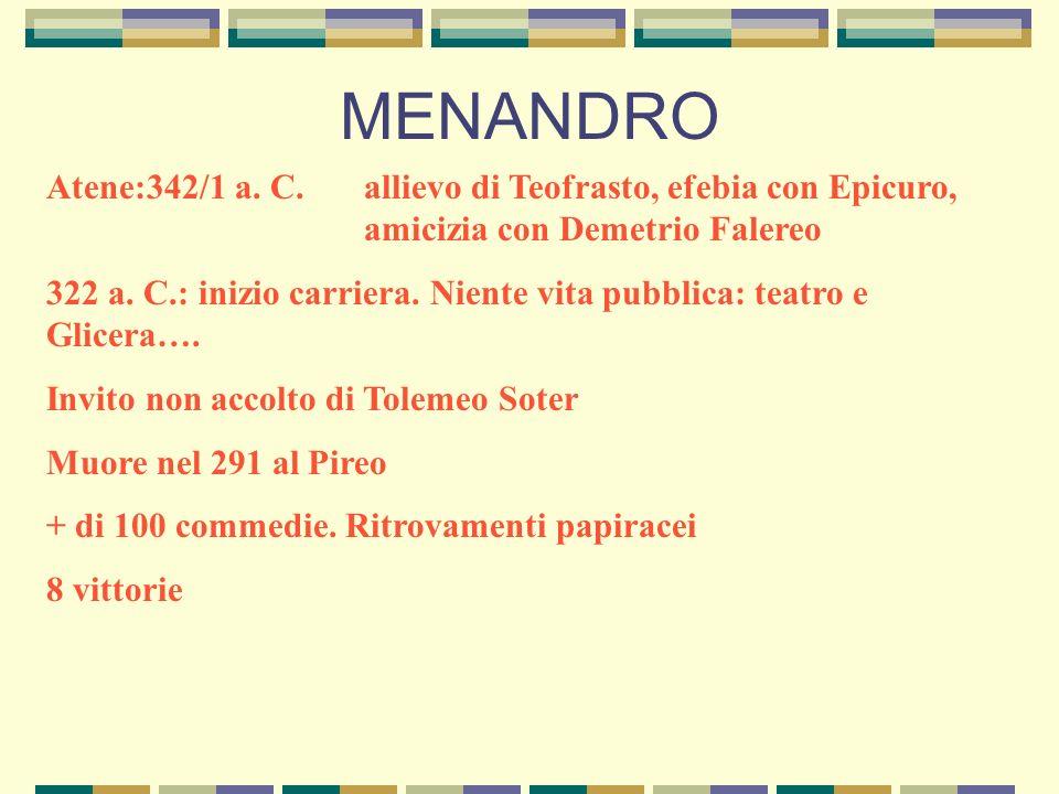 MENANDRO Atene:342/1 a. C.allievo di Teofrasto, efebia con Epicuro, amicizia con Demetrio Falereo 322 a. C.: inizio carriera. Niente vita pubblica: te