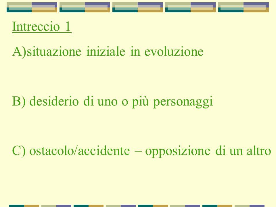 Intreccio 1 A)situazione iniziale in evoluzione B) desiderio di uno o più personaggi C) ostacolo/accidente – opposizione di un altro