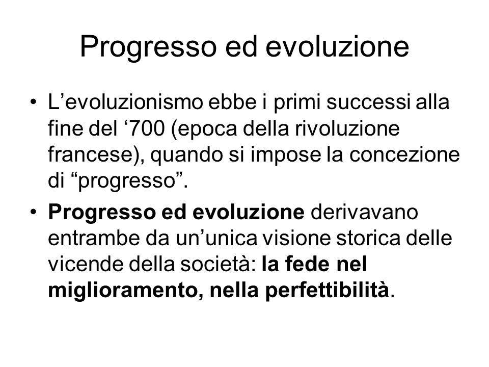 Progresso ed evoluzione Levoluzionismo ebbe i primi successi alla fine del 700 (epoca della rivoluzione francese), quando si impose la concezione di p
