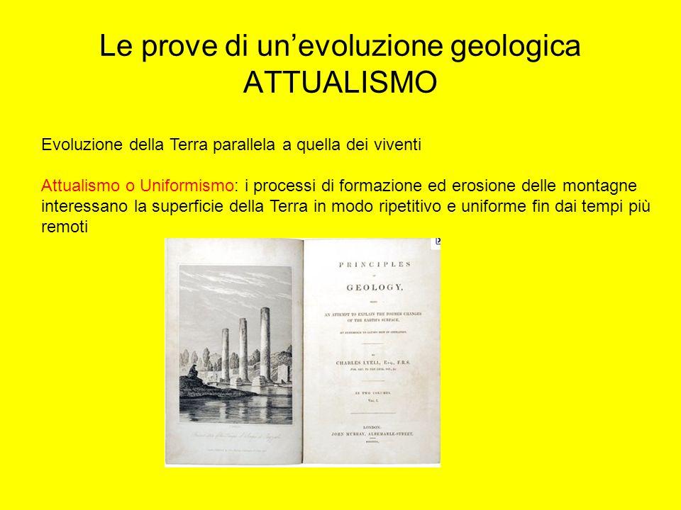 Le prove di unevoluzione geologica ATTUALISMO Evoluzione della Terra parallela a quella dei viventi Attualismo o Uniformismo: i processi di formazione
