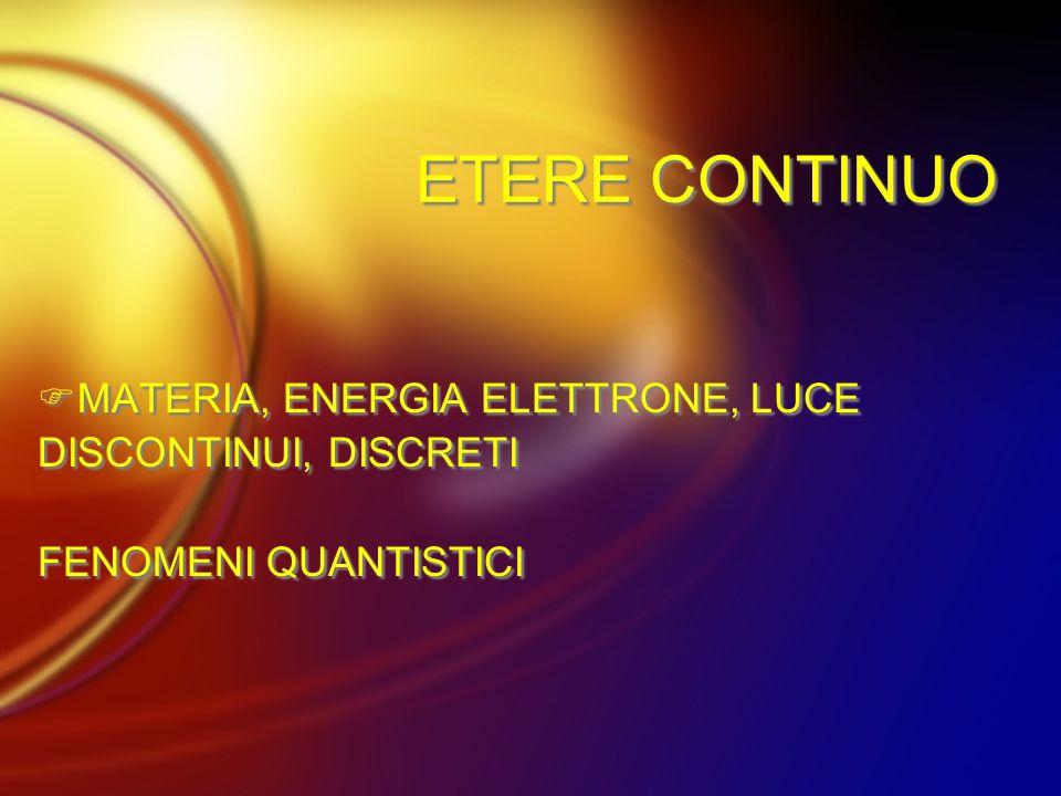 ETERE CONTINUO MATERIA, ENERGIA ELETTRONE, LUCE DISCONTINUI, DISCRETI FENOMENI QUANTISTICI MATERIA, ENERGIA ELETTRONE, LUCE DISCONTINUI, DISCRETI FENO