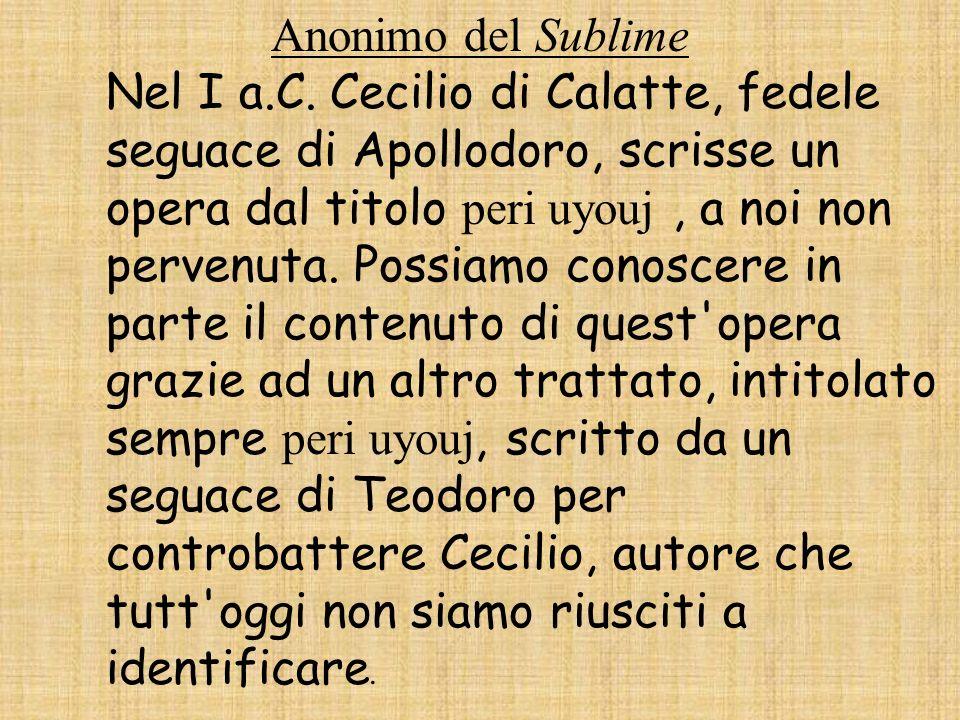 Anonimo del Sublime Nel I a.C.