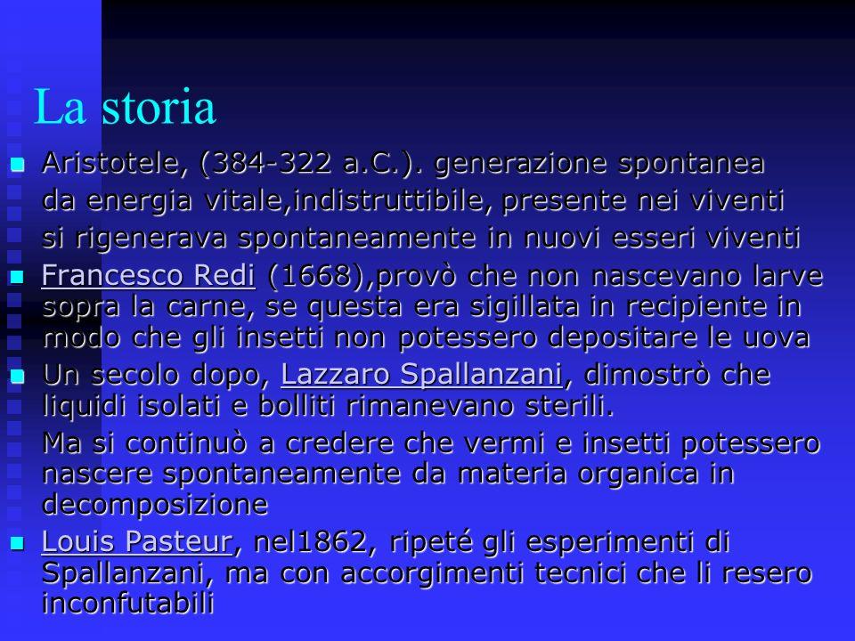 La storia Aristotele, (384-322 a.C.). generazione spontanea Aristotele, (384-322 a.C.). generazione spontanea da energia vitale,indistruttibile, prese