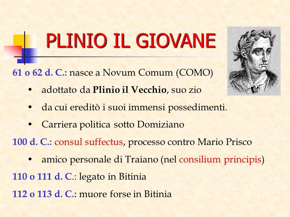 PLINIO IL GIOVANE 61 o 62 d. C.: nasce a Novum Comum (COMO) adottato da Plinio il Vecchio, suo zio da cui ereditò i suoi immensi possedimenti. Carrier