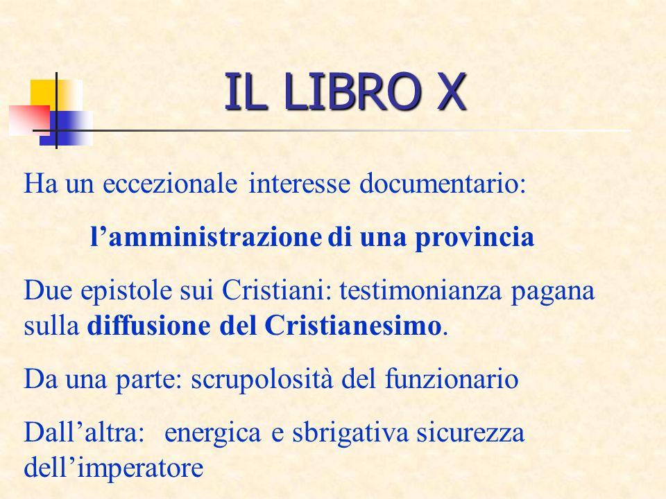 IL LIBRO X Ha un eccezionale interesse documentario: lamministrazione di una provincia Due epistole sui Cristiani: testimonianza pagana sulla diffusio