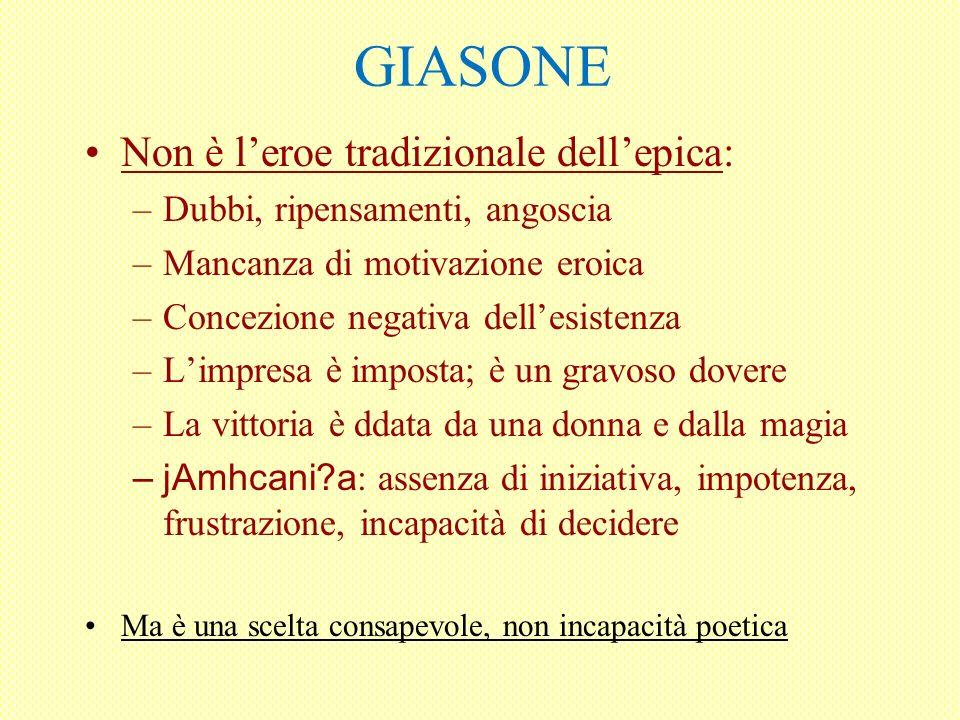 GIASONE Non è leroe tradizionale dellepica: –Dubbi, ripensamenti, angoscia –Mancanza di motivazione eroica –Concezione negativa dellesistenza –Limpres