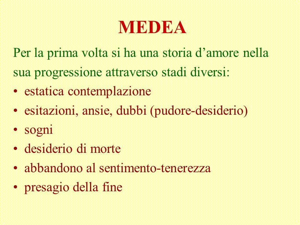 MEDEA Per la prima volta si ha una storia damore nella sua progressione attraverso stadi diversi: estatica contemplazione esitazioni, ansie, dubbi (pu