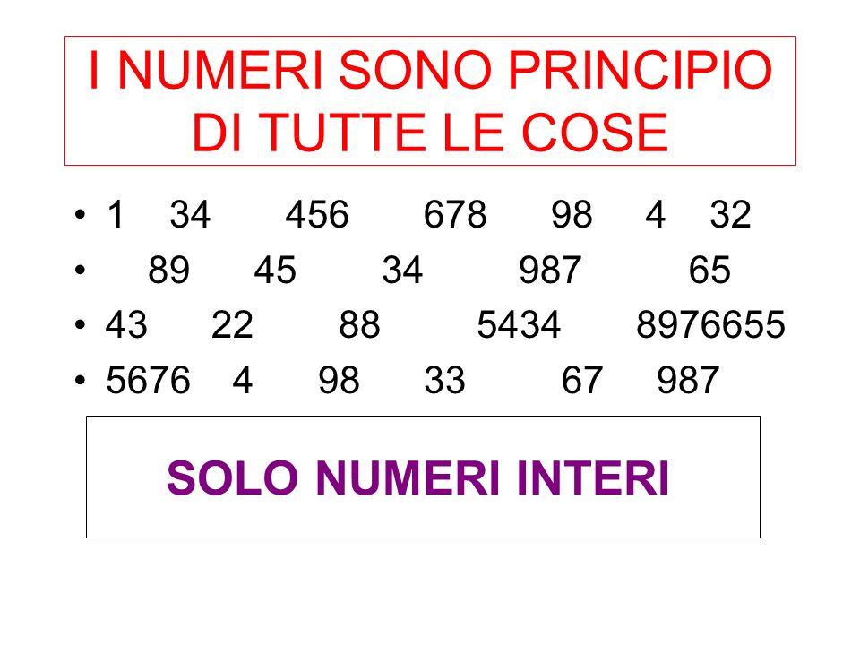 I numeri generano tutti gli esseri Le leggi della formazione dei numeri sono sono leggi della formazione delle cose Attribuzione di proprietà insite nel numero, conferiscono anche valori etici
