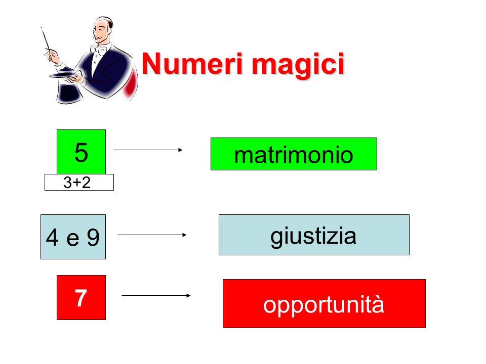 Numeri magici 5 matrimonio 3+2 4 e 9 giustizia 7 opportunità
