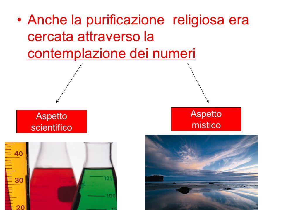 Anche la purificazione religiosa era cercata attraverso la contemplazione dei numeri Aspetto scientifico Aspetto mistico