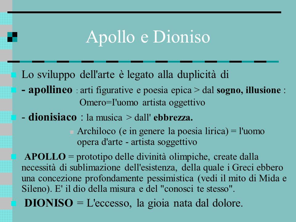 Apollo e Dioniso Lo sviluppo dell'arte è legato alla duplicità di - apollineo : arti figurative e poesia epica > dal sogno, illusione : Omero=I'uomo a