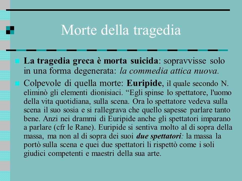 Morte della tragedia La tragedia greca è morta suicida: sopravvisse solo in una forma degenerata: la commedia attica nuova. Colpevole di quella morte: