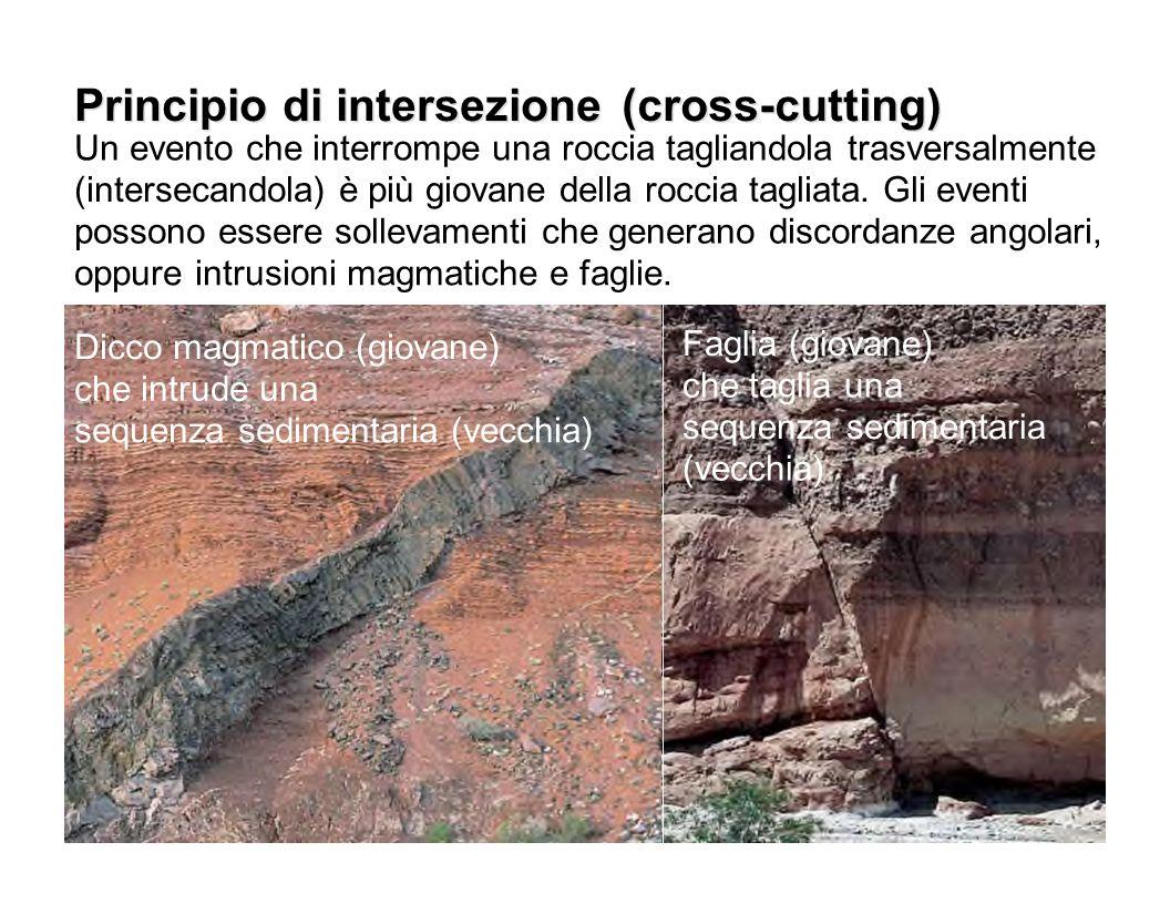 Principio di intersezione (cross-cutting) Un evento che interrompe una roccia tagliandola trasversalmente (intersecandola) è più giovane della roccia