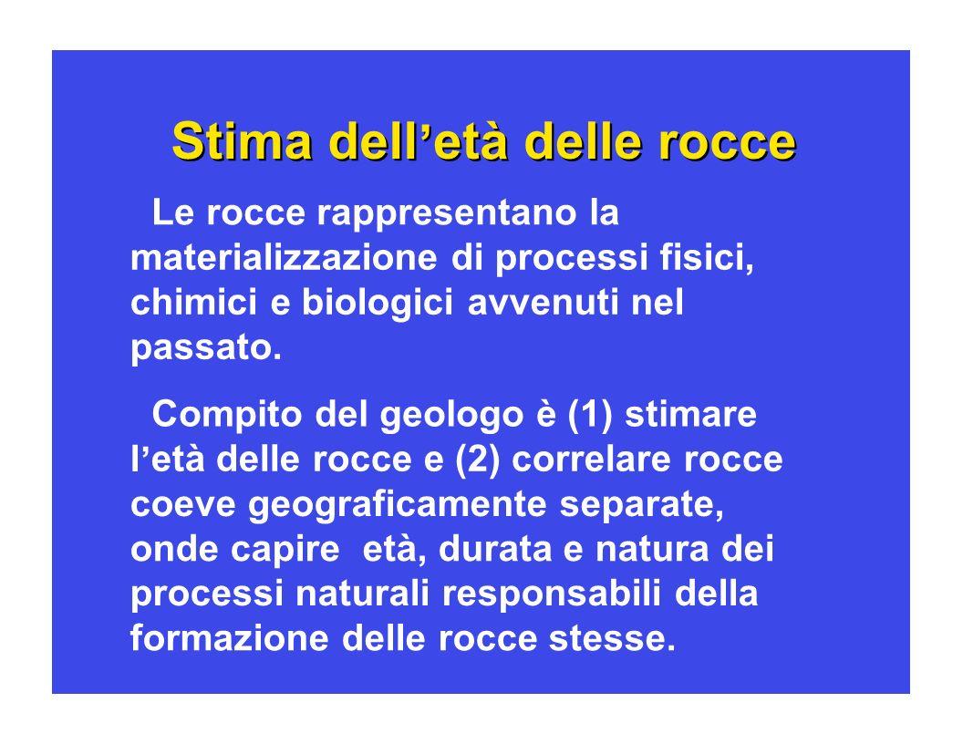Stima dell et à à delle rocce e e correlazioni 1) Misure relative: biostratigrafia, magnetostratigrafia, stratigrafia isotopica, astrostratigrafia.
