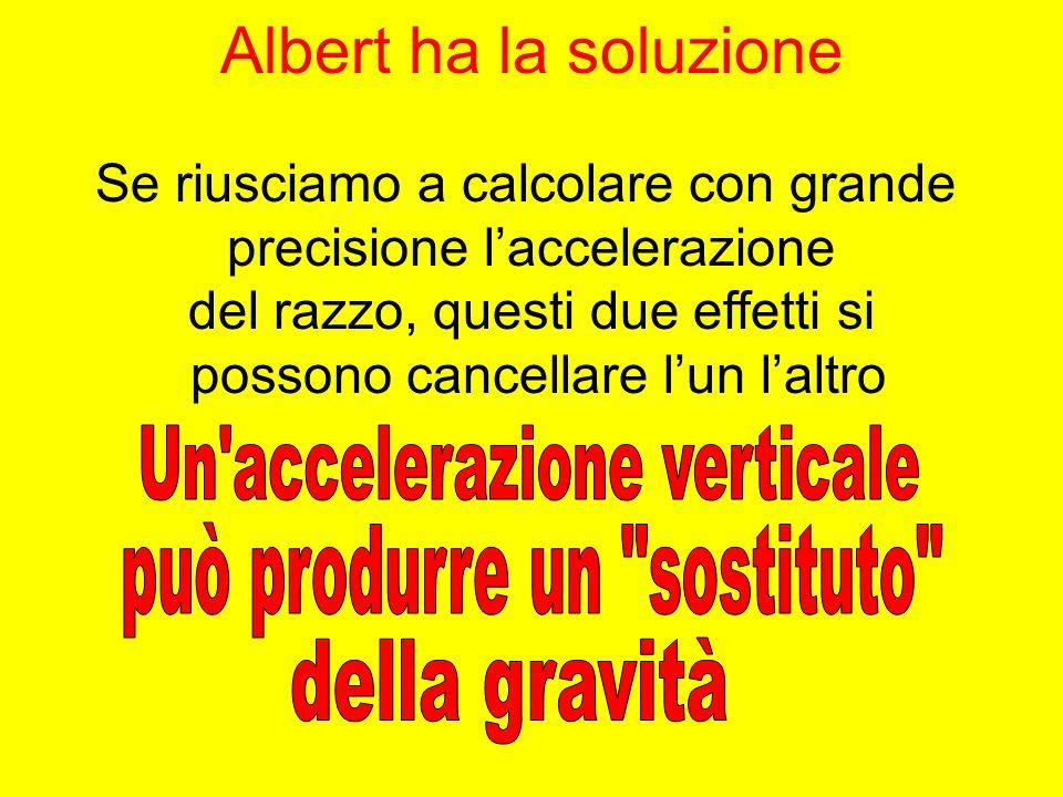 Albert ha la soluzione Se riusciamo a calcolare con grande precisione laccelerazione del razzo, questi due effetti si possono cancellare lun laltro