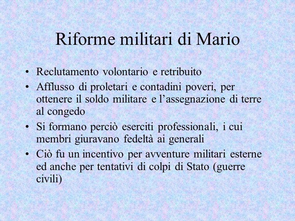 Principali avvenimenti 88 a.C.: Silla entra con lesercito a Roma, uccisione di Mario 82-78 a.