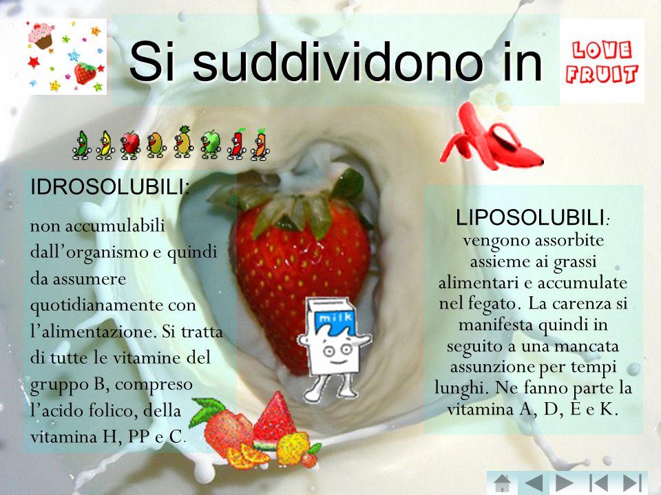 Si suddividono in LIPOSOLUBILI : vengono assorbite assieme ai grassi alimentari e accumulate nel fegato.