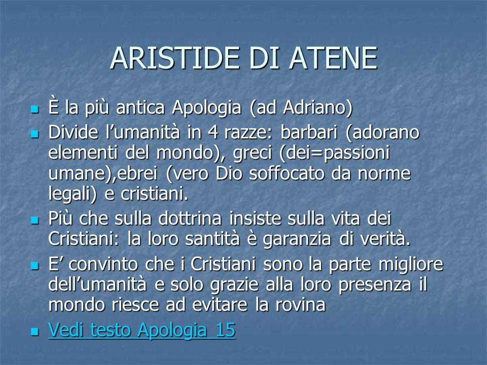 ARISTIDE DI ATENE È la più antica Apologia (ad Adriano) È la più antica Apologia (ad Adriano) Divide lumanità in 4 razze: barbari (adorano elementi de