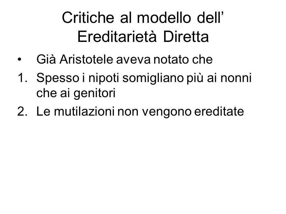 Critiche al modello dell Ereditarietà Diretta Già Aristotele aveva notato che 1.Spesso i nipoti somigliano più ai nonni che ai genitori 2.Le mutilazio