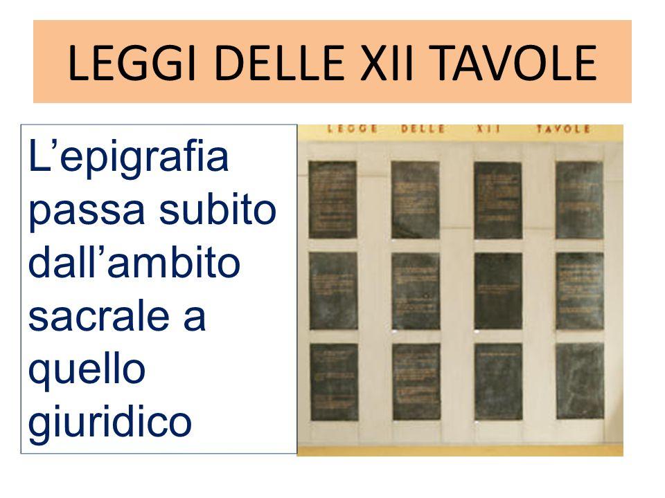 LEGGI DELLE XII TAVOLE Lepigrafia passa subito dallambito sacrale a quello giuridico