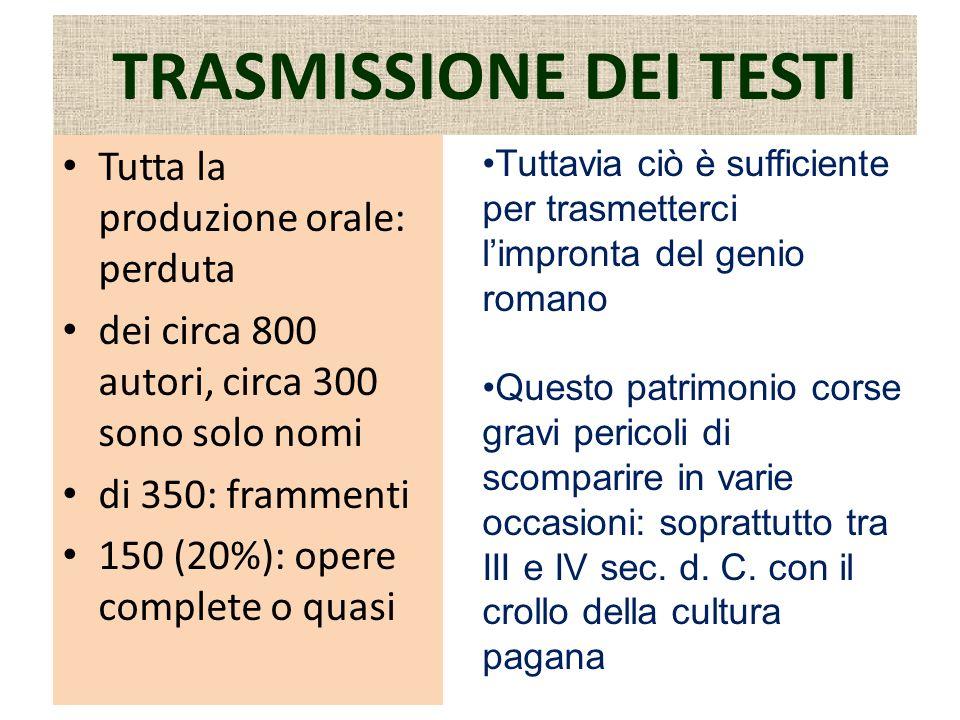TRASMISSIONE DEI TESTI Tutta la produzione orale: perduta dei circa 800 autori, circa 300 sono solo nomi di 350: frammenti 150 (20%): opere complete o