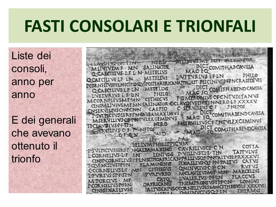 FASTI CONSOLARI E TRIONFALI Liste dei consoli, anno per anno E dei generali che avevano ottenuto il trionfo