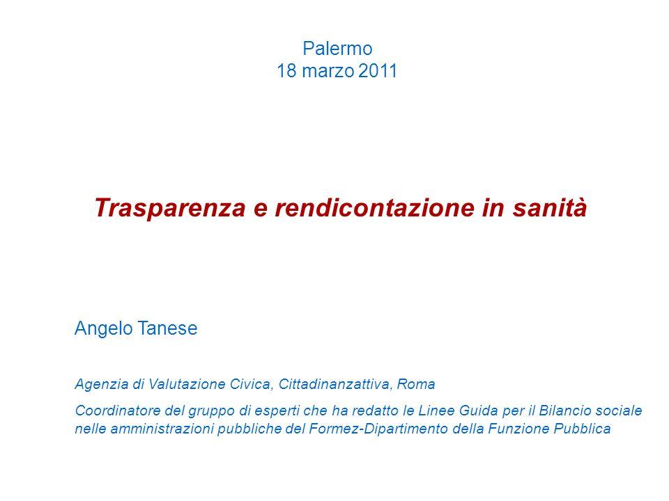 Palermo 18 marzo 2011 Trasparenza e rendicontazione in sanità Angelo Tanese Agenzia di Valutazione Civica, Cittadinanzattiva, Roma Coordinatore del gr